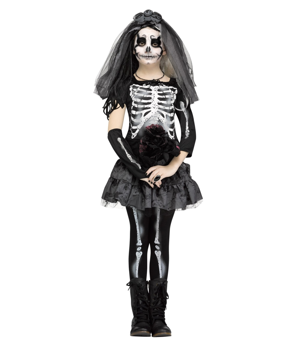 Ghastly Skeleton Bride Girls Costume  sc 1 st  Wonder Costumes & Ghastly Skeleton Bride Girls Costume - Scary Costumes