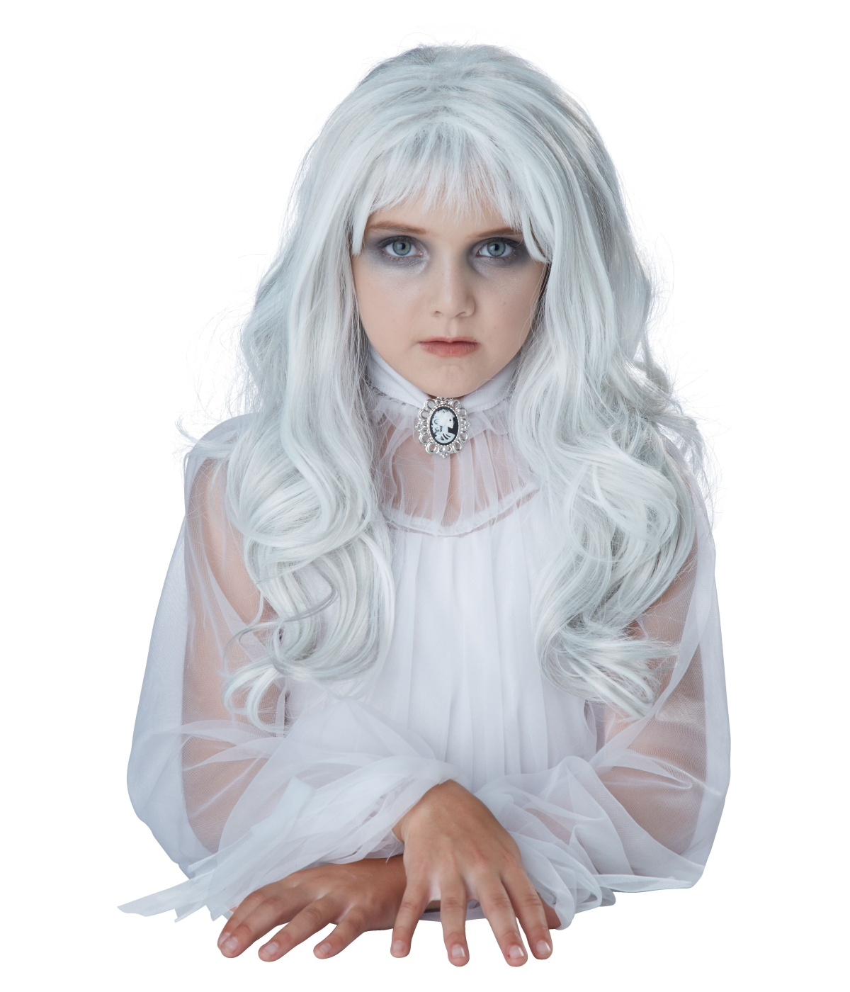 Ghostly Girl White Hair Wig Scary Costumes