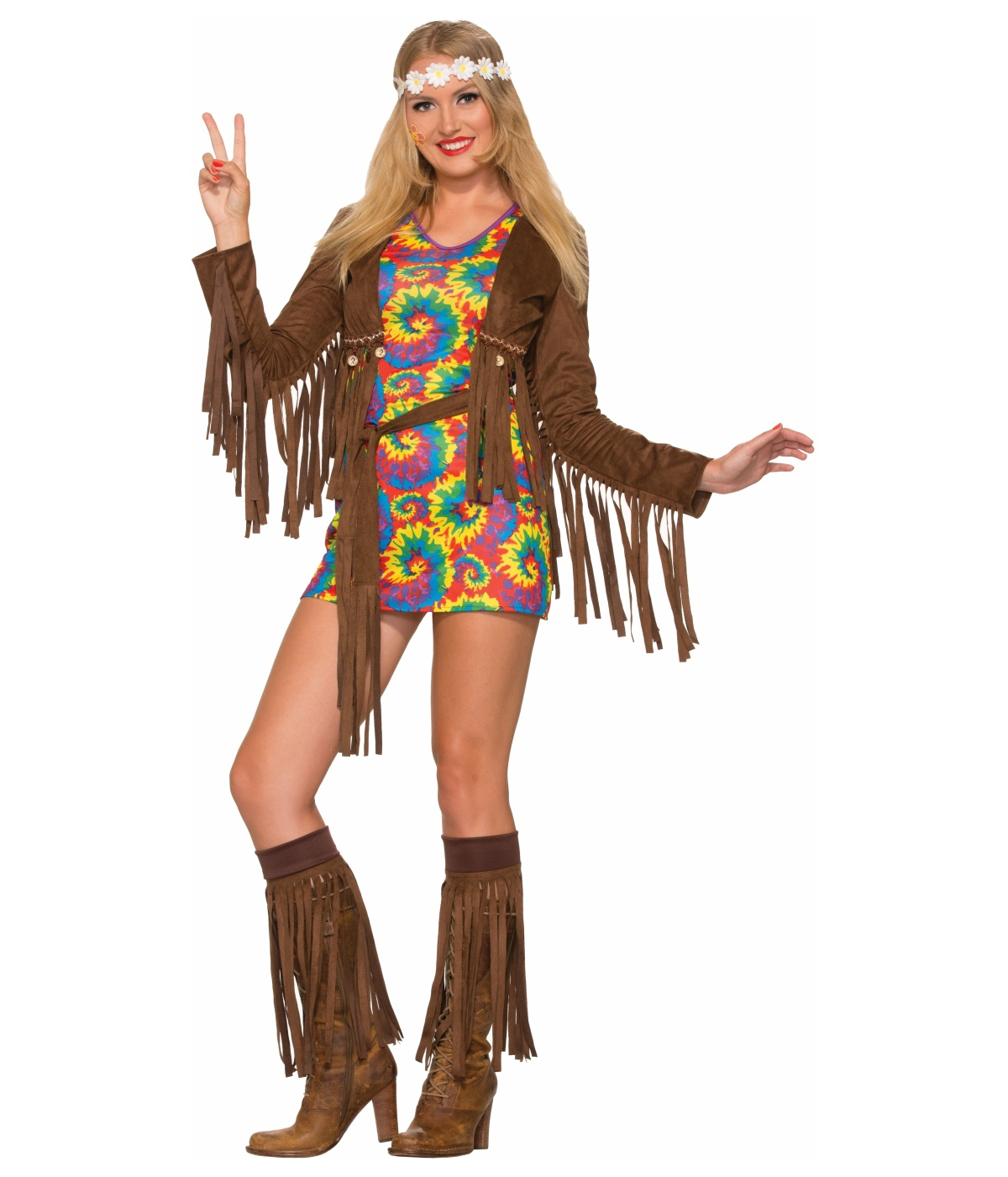 Womens Psychedelic Hippie Shimmy Mini Dress Costumes