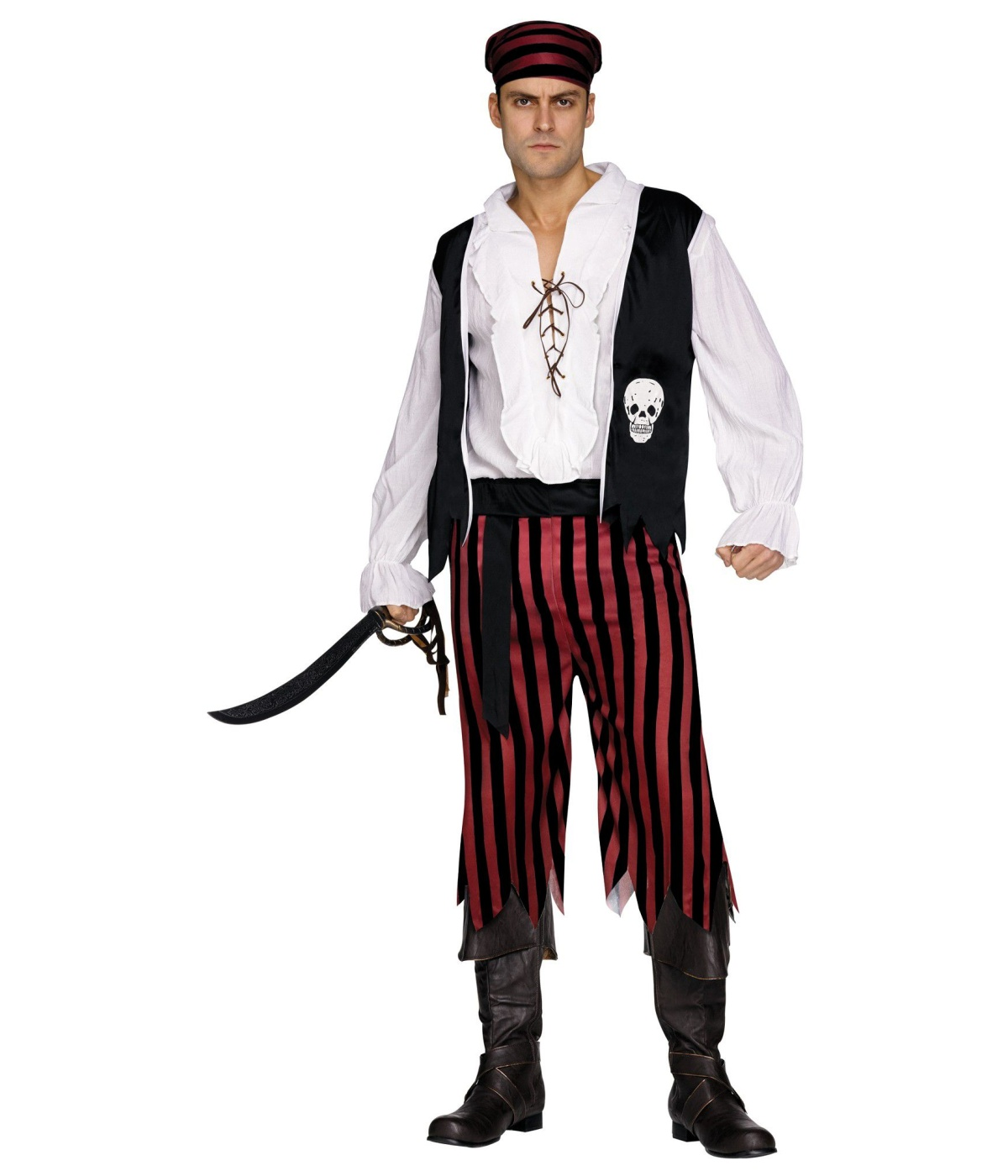 Traditional Red And Black Buccaneer Pirate Men Costume  sc 1 st  Wonder Costumes & Traditional Red and Black Buccaneer Pirate Men Costume - Pirate Costumes