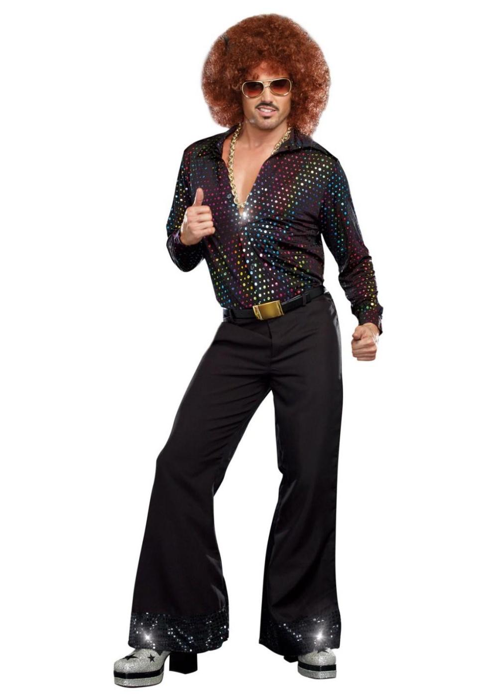 Disco Dude Men Shirt 1970s Costumes
