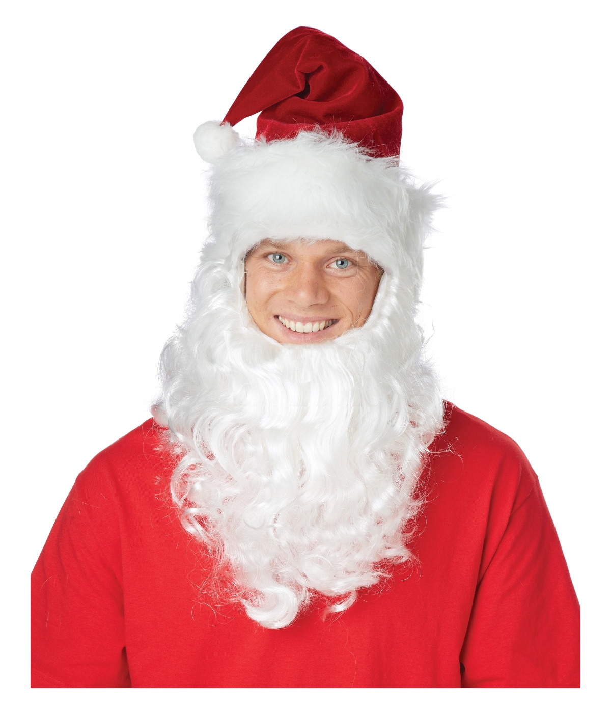 c1e8f08d4f7 Santa Claus Getup Hat with Attached Beard Set - Hats