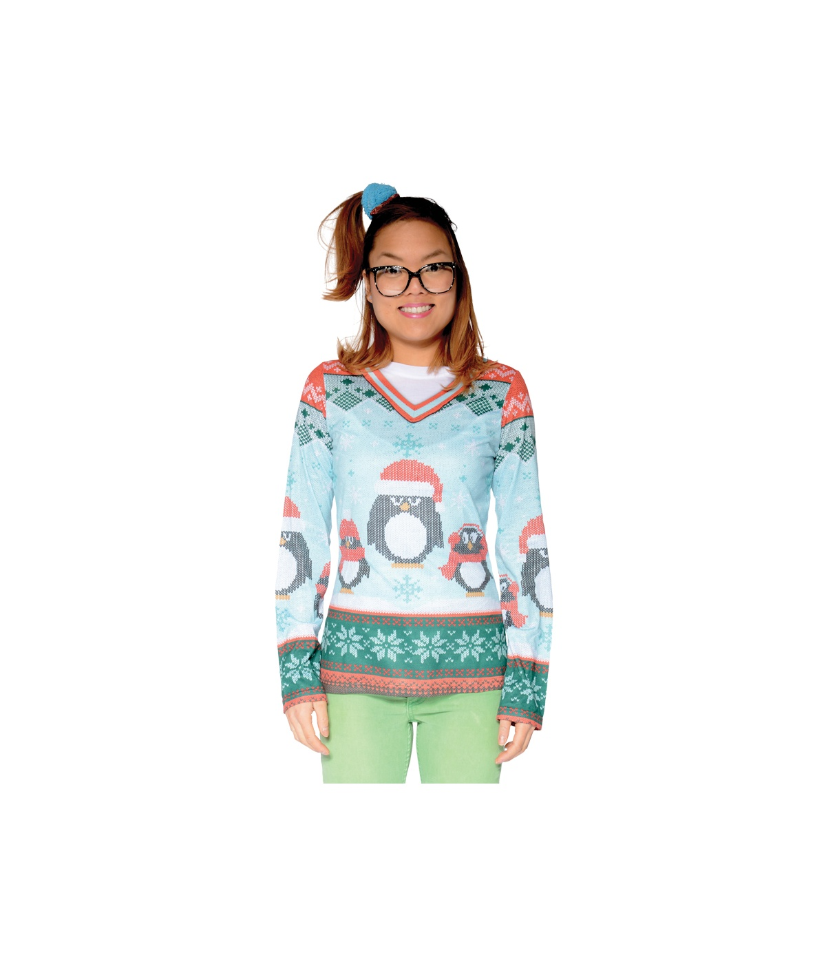 Womens Winter Penguin Sweater Shirt