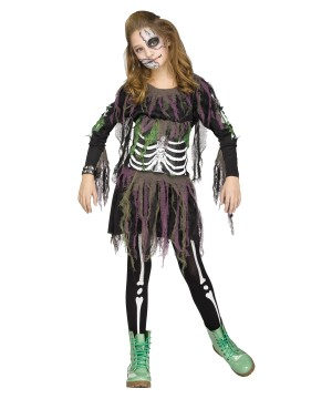 3d Zombie Skeleton Girls Costume