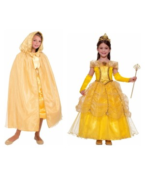 Beauty and the Beast Belle Girls Costume and Gold Hooded Cape