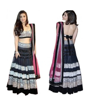 Bollywood Design Black Net Lehanga Sari