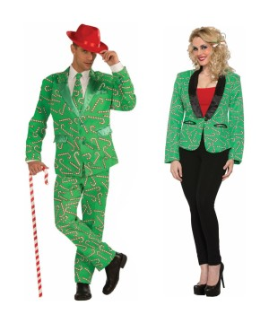 Candy Cane Men Costume and Candy Cane Blazer Women Couples Costumes