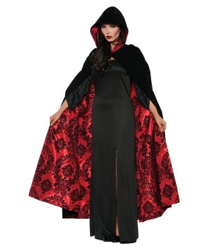 Red Black Cape Velvet Satin Women