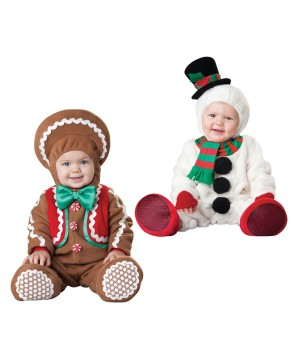 Christmas Gingerbread Man and Snowman Baby Boys Costumes
