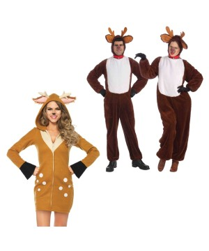 Christmas Reindeer Plush Men Costume and Reindeer Women Costume Set