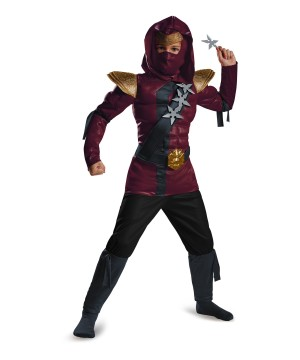 Boys Crimson Ninja Classic Muscle Costume