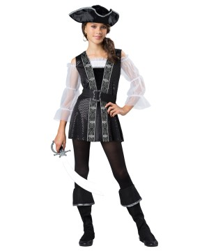 Dark Pirate Tween Girls Costume
