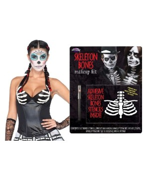 Day of the Dead Latex Women Corset and Skeleton Bones Makeup Set