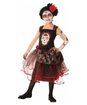 Day of the Dead Rosa Senorita Girl Costume