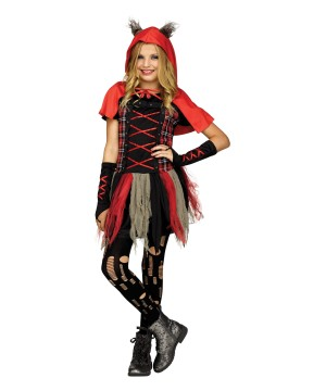 Edgy Red Hood Girls Costume