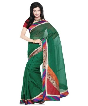 Colorful Ethnic Design Cotton Saree and Blouse Fabric