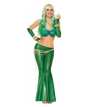 Green and Blue Mermaid Women Costume
