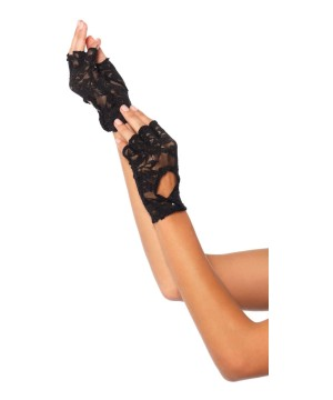 Lace Keyhole Fingerless Gloves