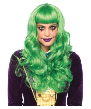 Long Wavy Green Bangs Wig