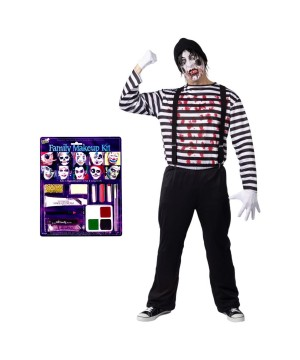 Maniacal Mime Men Costume and Makeup Set