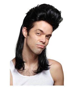 Nightclub Mullet Black Wig