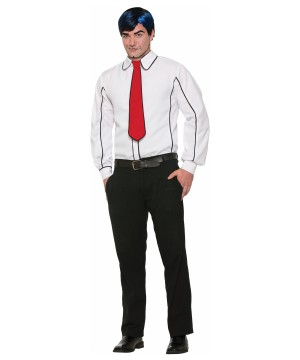 Pop Art Black Outlined White Shirt With Tie