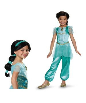 Princess Jasmine Girls Costume and Wig Set