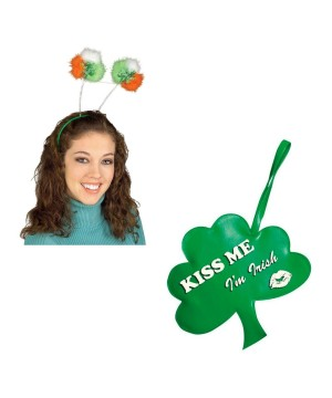 Saint Patricks Day Boppers Headband and Shamrock Wristlet Bag