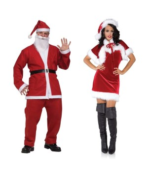 Santa Men Pub Crawl and Sexy Merry Holiday Women Costume Set