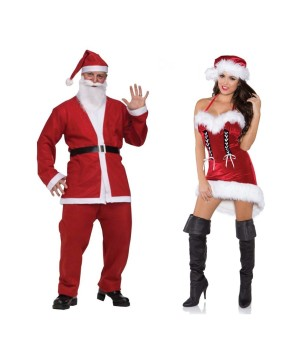 Santa Pub Crawl Men Costume and Sexy Miss Santa Women Costume Set