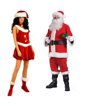 Santa Suit Men Costume and Santa Secret Women Costume Set