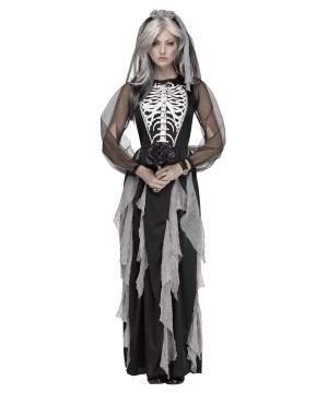 Skeleton Bride of the Night Women Costume