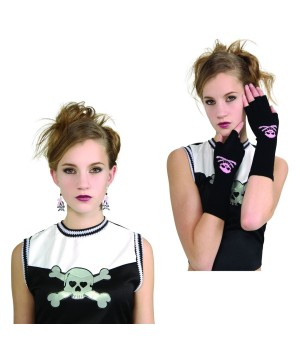 Skull Earrings and Gloves Girls Kit