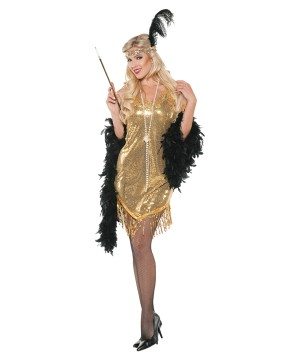 Swingin Gold Flapper Women Costume
