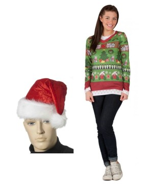 Ugly Christmas Women Sweater and Santa Hat