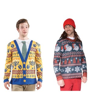 Ugly Hanukkah Sweater and Ugly Christmas Sweater Set