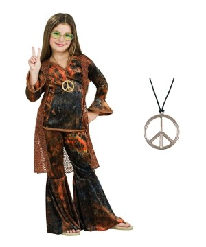 Woodstock Girls Costume and Peace Medal Necklace