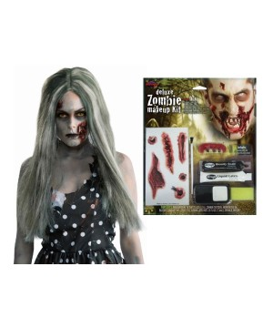 Zombie Women Wig and Makeup Kit