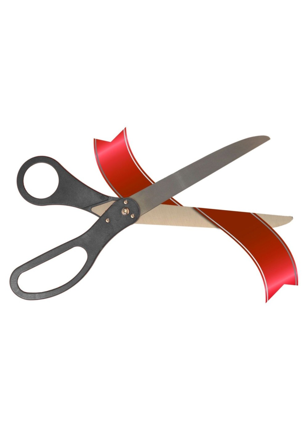 25 Inch Long Black Handle Ceremonial Ribbon Cutting Scissors