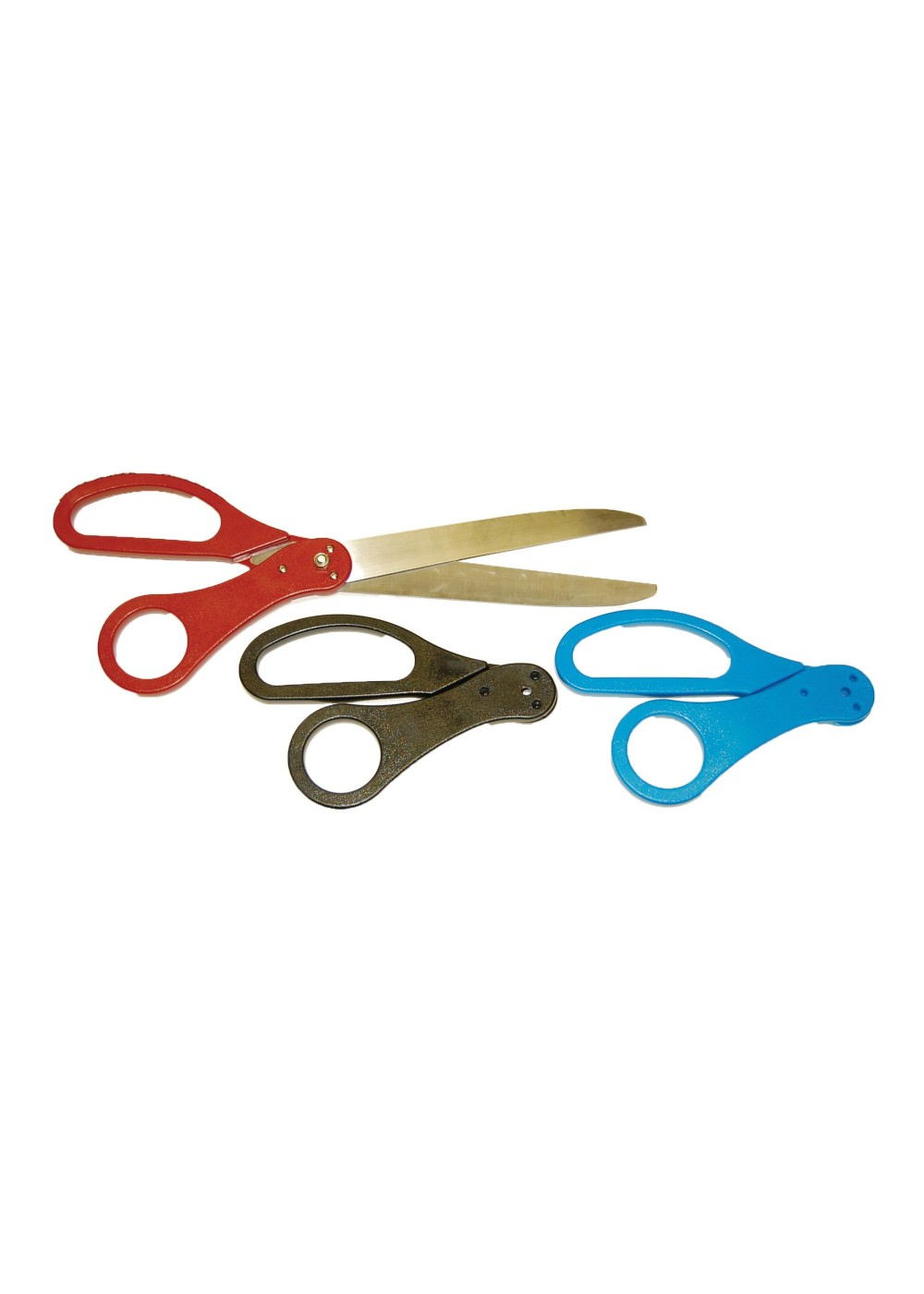 25 Inch Red Ribbon Cutting Scissors And Black And Blue Changeable Handles