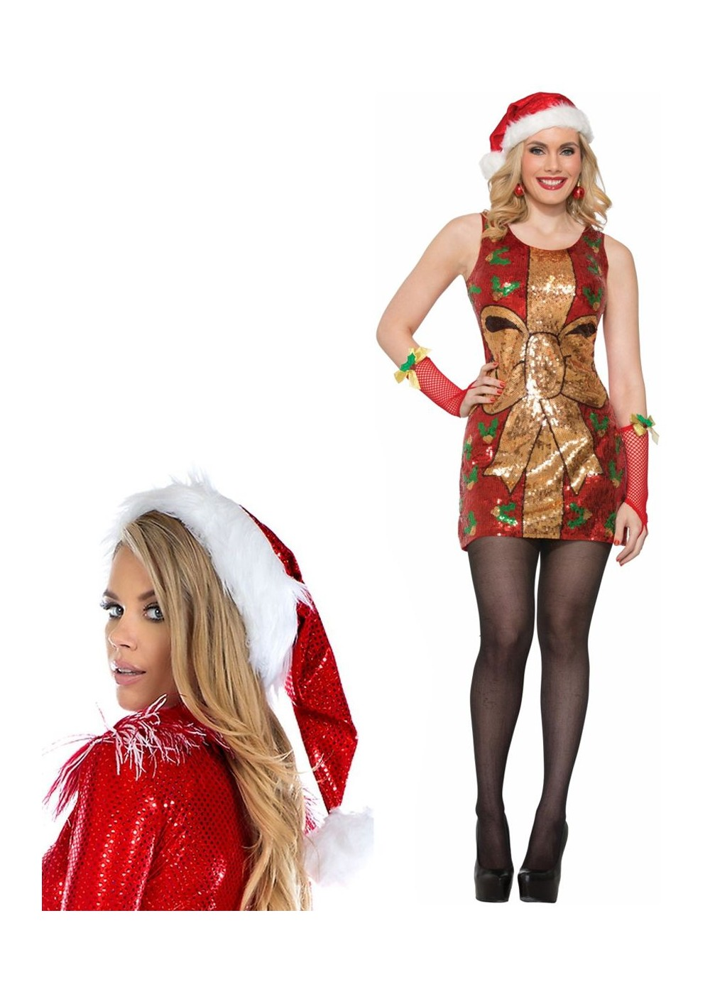 8451a8649a9 Christmas Present Women Dress and Iridescent Sparkle Santa Hat ...