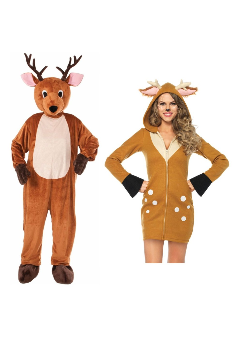Christmas Reindeer Mascot Men Costume And Reindeer Women