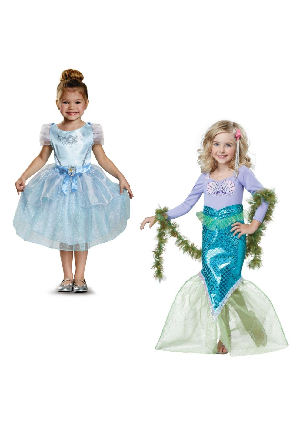 Kids Cinderella Costume And Magical Mermaid Girls Costumes Set