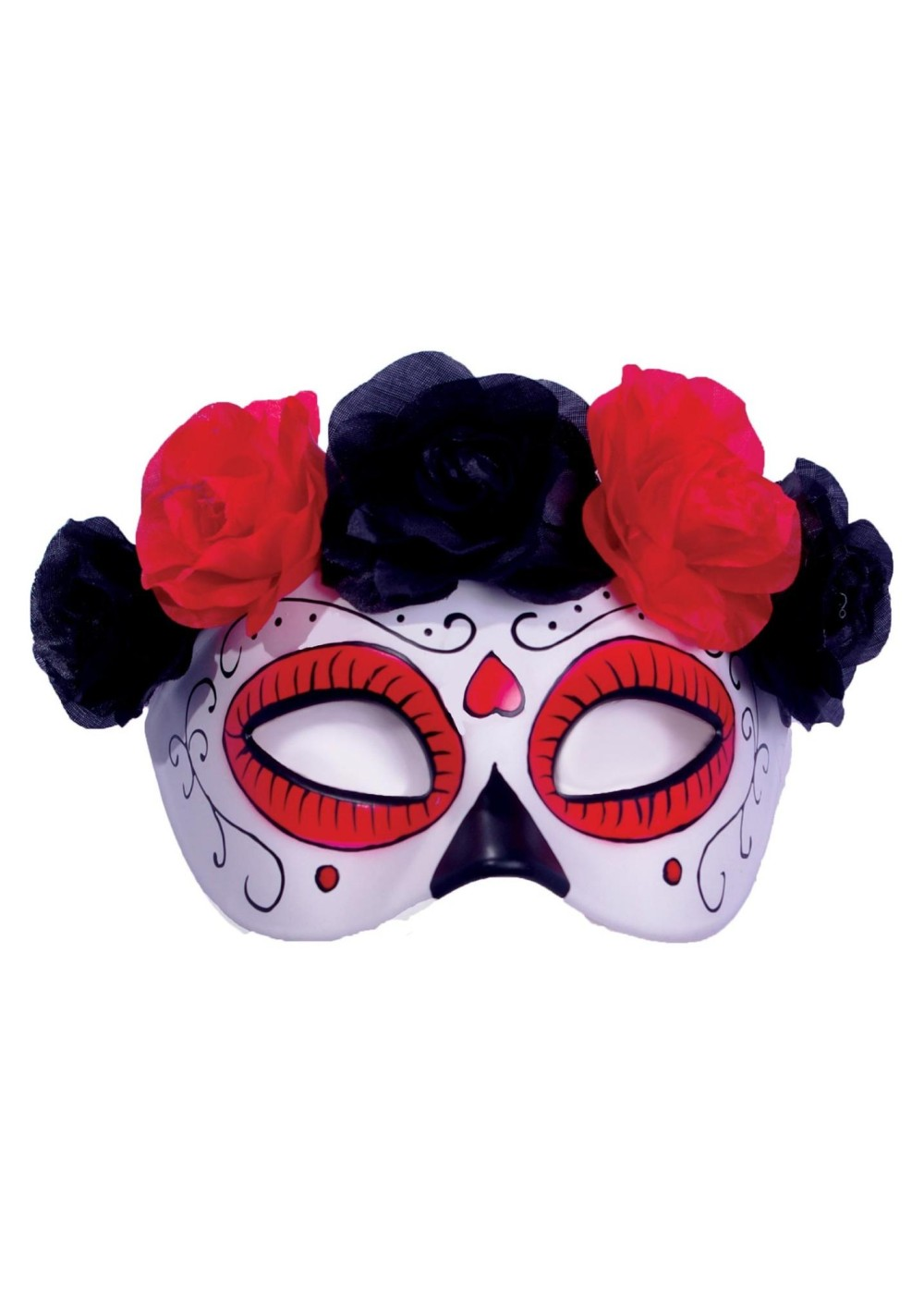 Day Of The Dead Half Mask With Attached Flowers