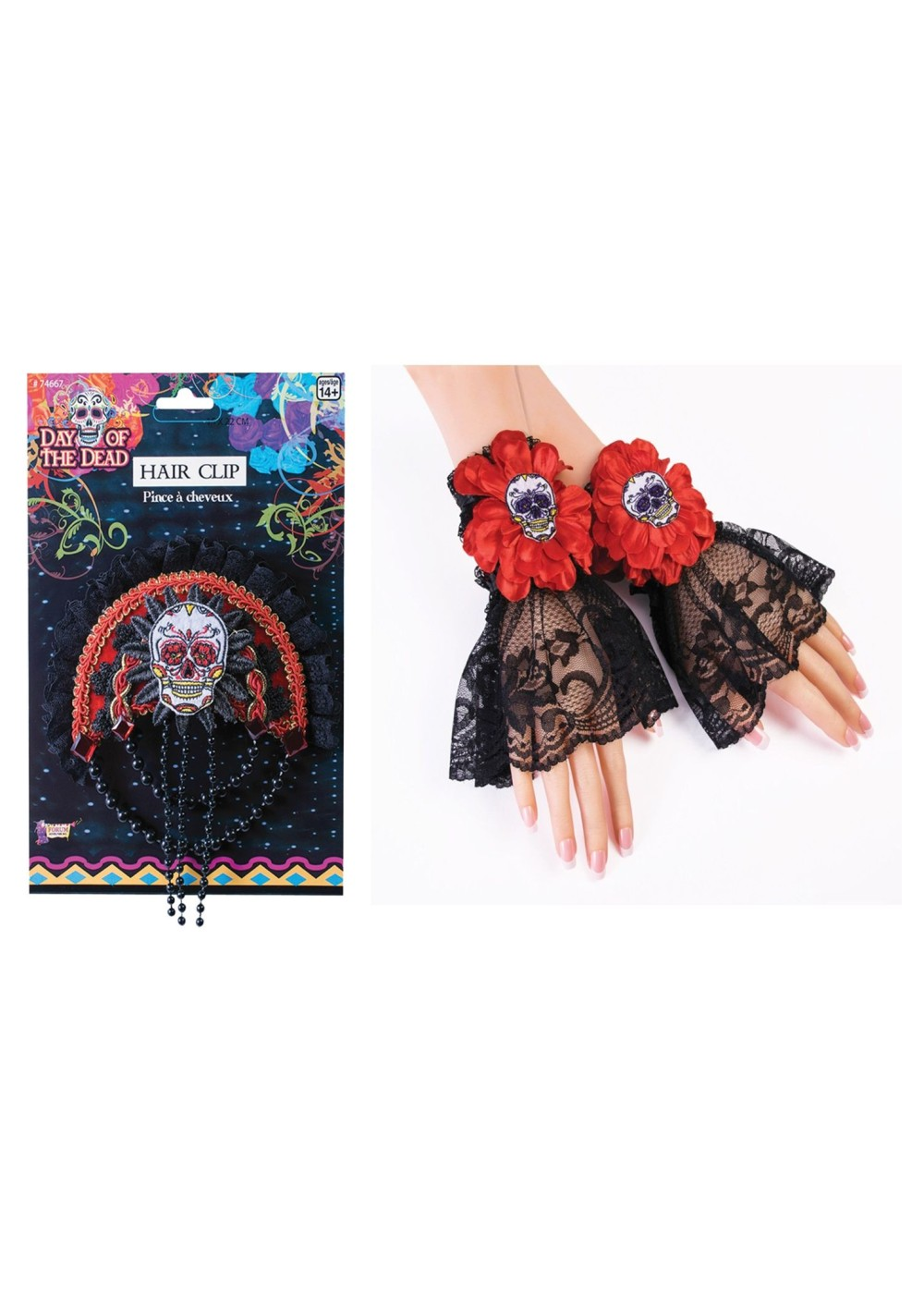 Day Of The Dead Wrist Cuffs And Hair Clip Set Accessories