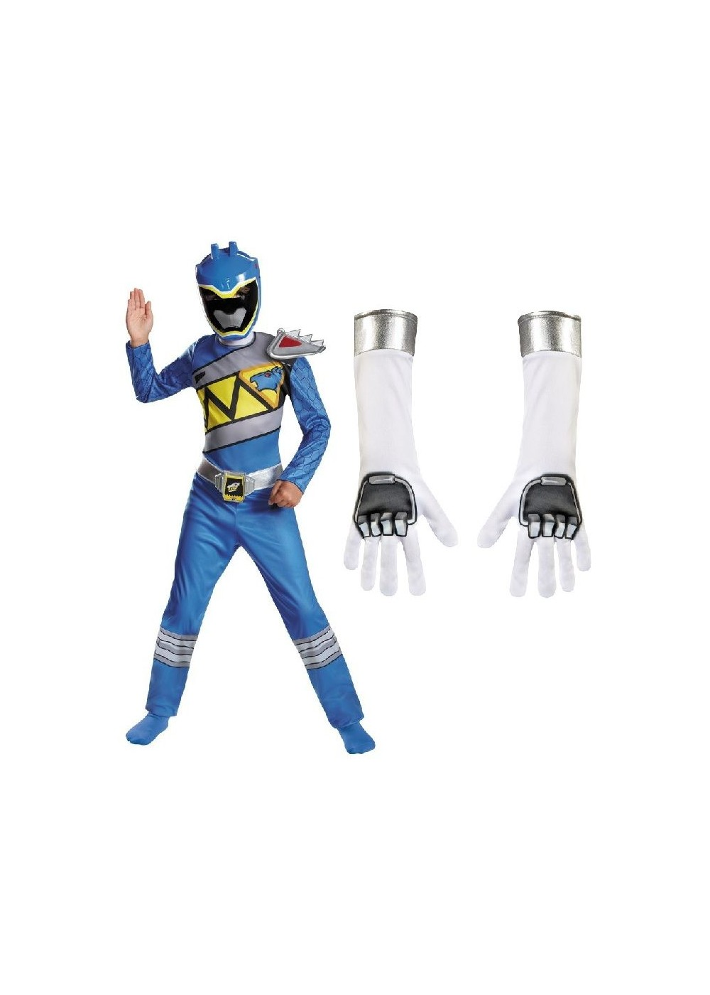 Dino Charge Blue Power Rangers Boys Costume And Gloves Set