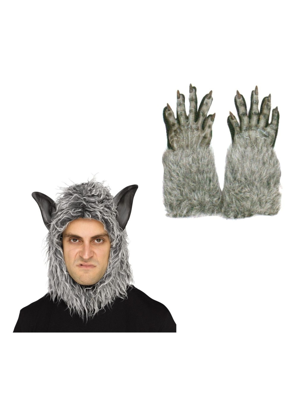 Grey Wolf Beast Mask And Gloves Costume Kit