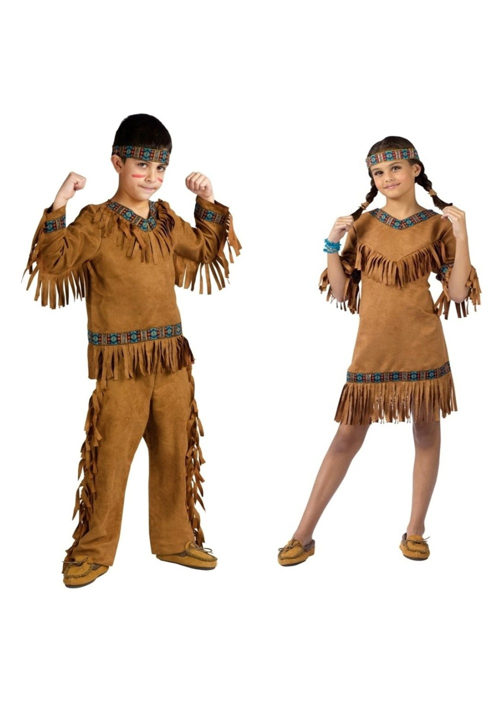 Kids Native American Indian Boys And Girls Costume Set