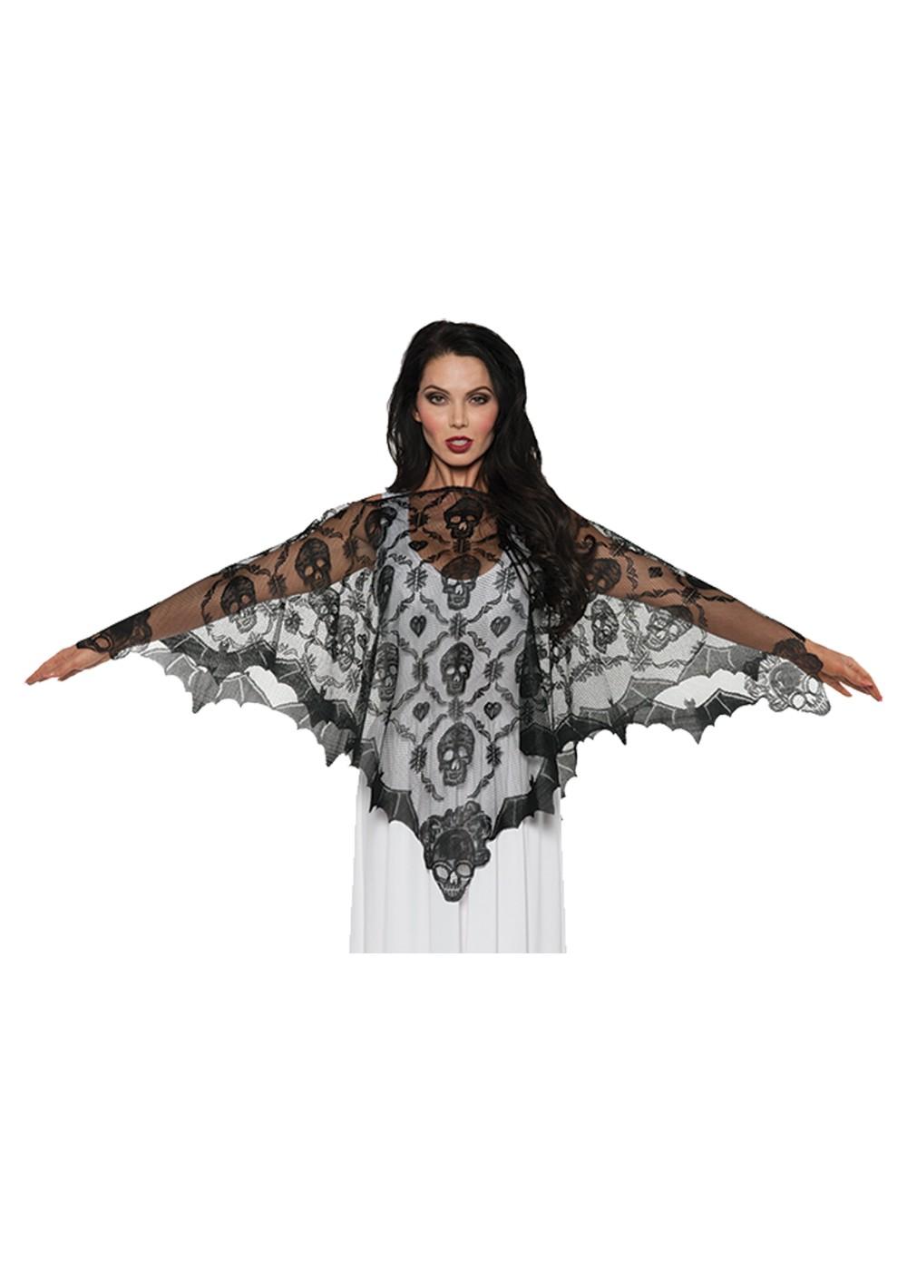 Black Vampire Lace Poncho Vampire Costumes