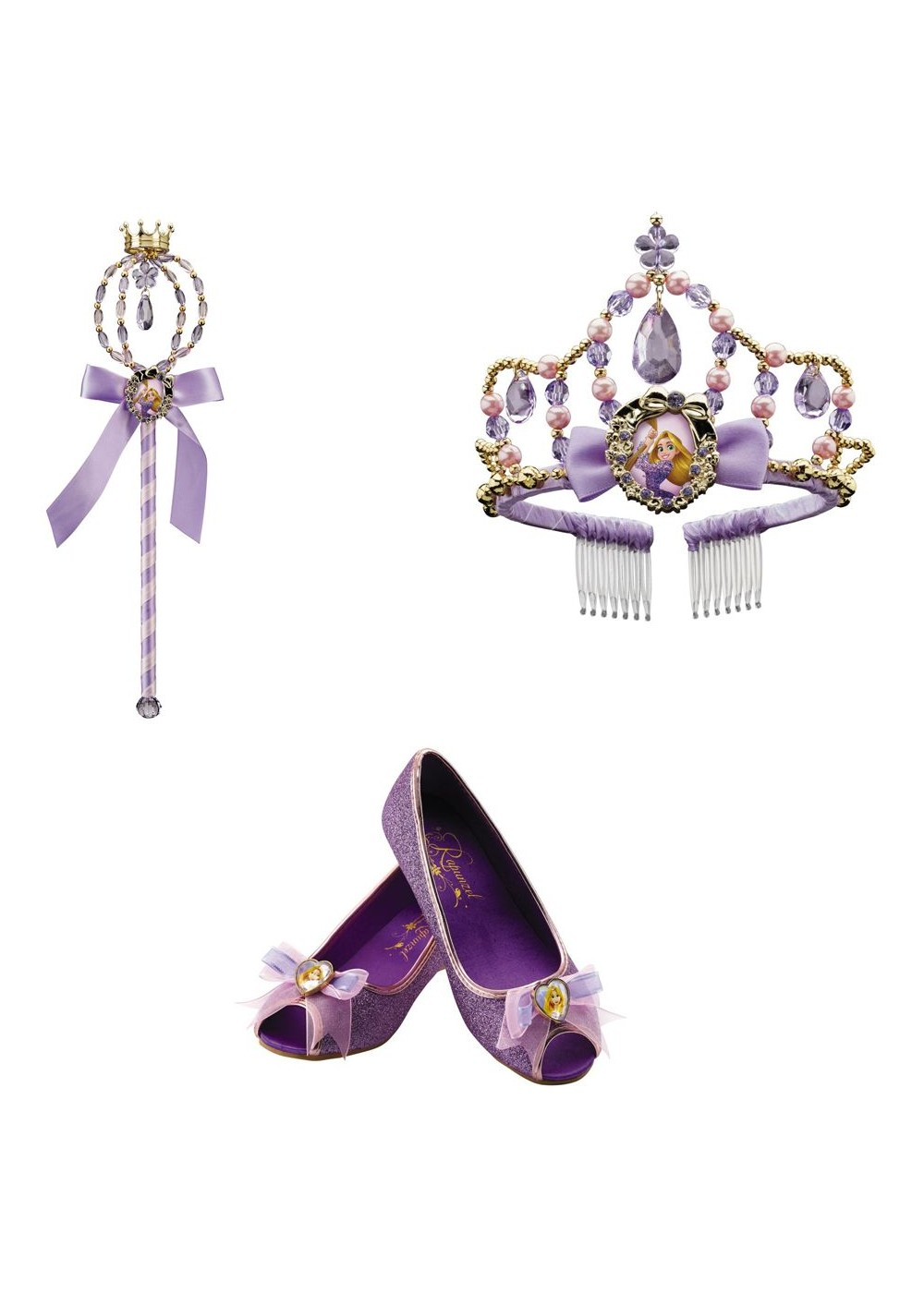 Kids Rapunzel Wand Tiara And Shoes Kit